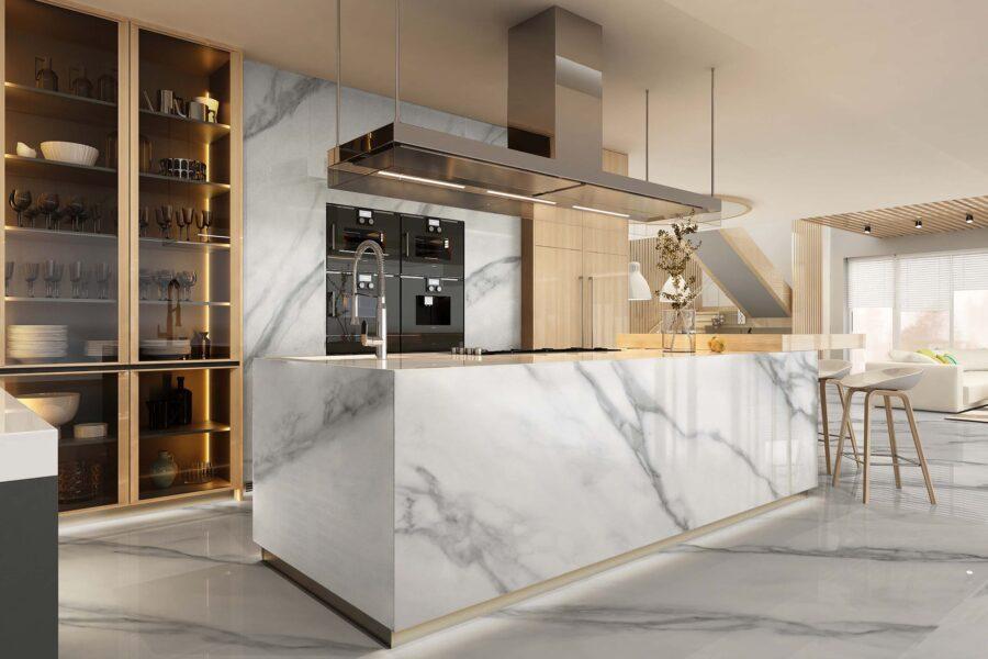 Modern kitchen interior in black colors